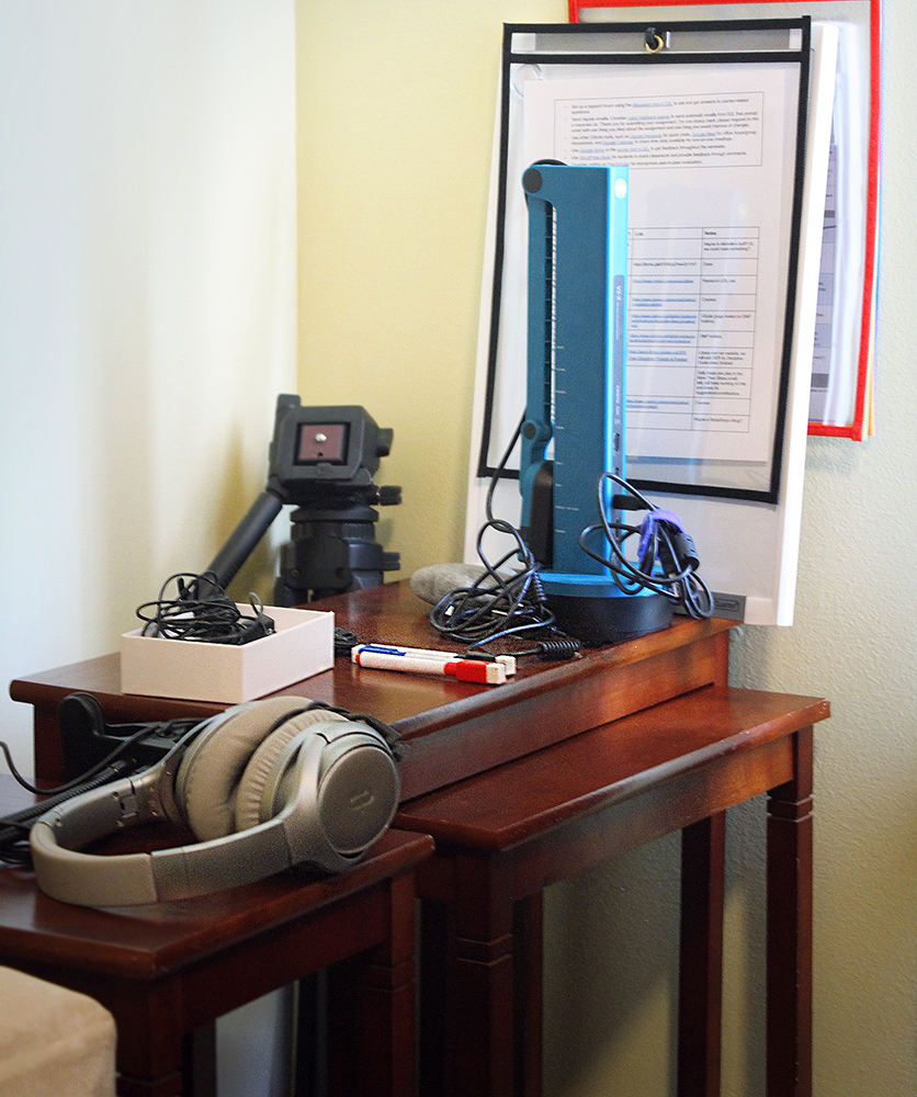 nesting tables and teaching equipment that is kept behind the desk