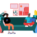 Three people in a living room, all on mobile devices