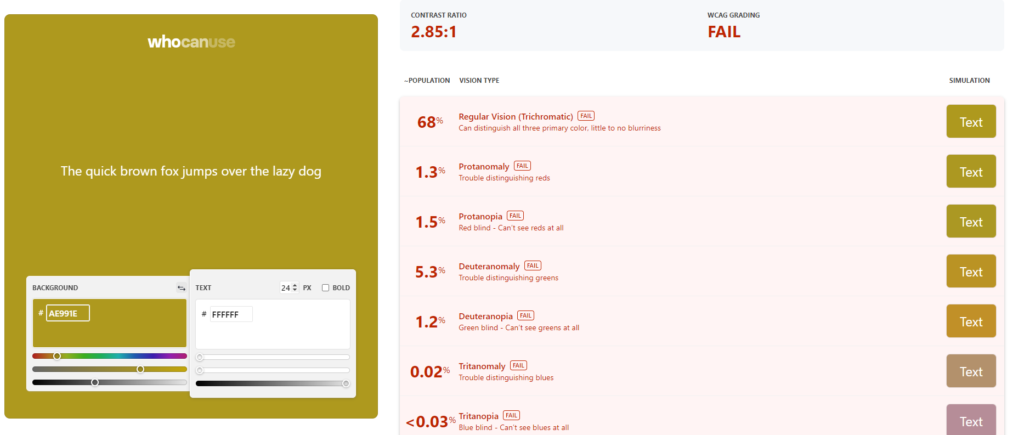Screenshot of whocanuse.com showing the colour picker and the results